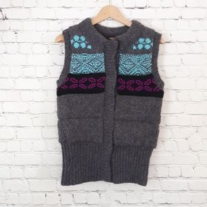 Free People Quilted Vest Fair Isle Sweater Gray S